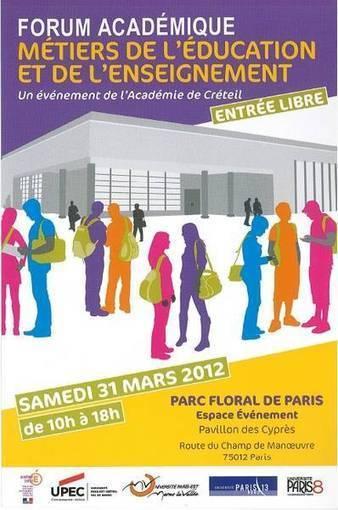 1er Forum des métiers de l'éducation et de l'enseignement de l ... | Université Paris 8 | Scoop.it