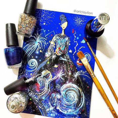 Artist Creates #Dazzling High #Fashion #Sketches with Carefully Coated #NailPolish. #art | Luby Art | Scoop.it