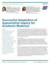 Successful Adaptation of Appreciative Inquiry for Academic Medicine | Appreciative Inquiry NEWS! | Scoop.it