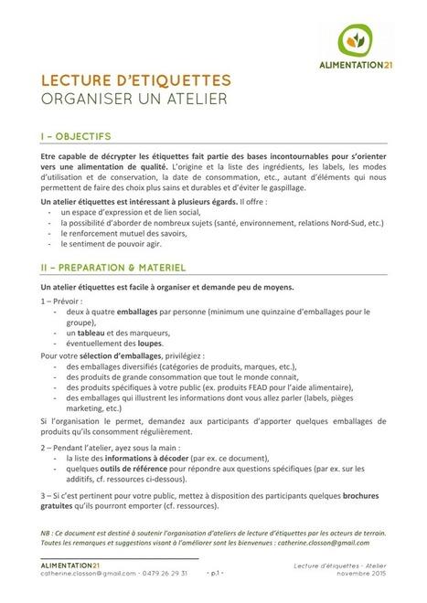Lecture d'étiquettes : Organiser un atelier - Alimentation21 | ALIMENTATION21 - Réalisations & publications | Scoop.it