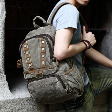 Retro fadded studded canvas rucksack from Vintage rugged canvas bags | personalized canvas messenger bags and backpack | Scoop.it