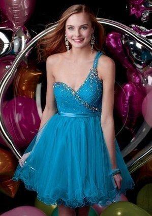 Blue One-Shoulder Shirred Short Prom Dresses With Beading [Blue Shirred Short Prom Dresses] - $155.00 : Prom Dresses On Sale, 60% off Dresses for Prom Night 2013 | Prom dress | Scoop.it