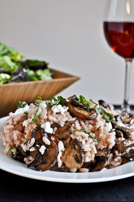 Red Wine + Goat Cheese Risotto with Caramelized Mushrooms. | Food for Foodies | Scoop.it