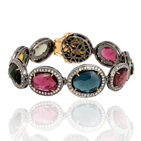 Multi Tourmaline Gemstone Diamond Bracelet | Gemstone Jewelry | GemcoDesigns | Pave Diamond Bracelets | Diamond Jewelry | GemcoDesigns | Scoop.it