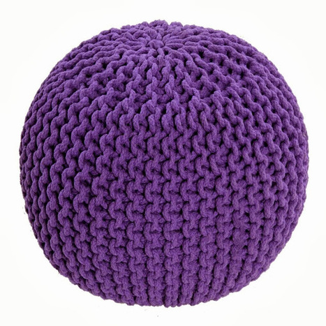 100% Cotton Mauve Knitted Pouffe Footstool | Home Accessories ! | Scoop.it