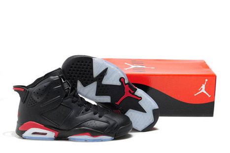 """Men Size Michael Shoes - Jordan 6 """"Bulls"""" (Black/Red) - Leather Style 