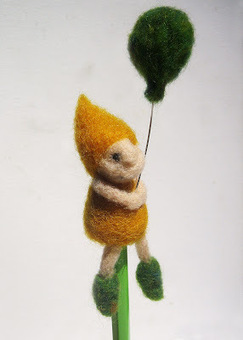 Green Dot Creations: The Balloon Gnome Pencil Topper | Needle felting art by Green Dot Creations' Studio! | Scoop.it