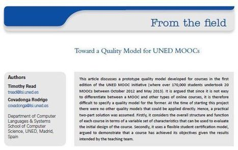 Toward a Quality Model for UNED MOOCs | Quality assurance of eLearning | Scoop.it
