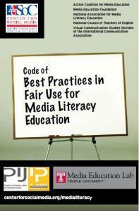 Y2008 Code of Best Practices for Fair Use in Media Literacy Education | Media Education Lab | Aprendiendo a Distancia | Scoop.it