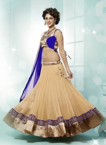 Wedding Lehnga Choli In Beige with Dangler, Resham. Purchase online today   Bridal Lehengas   Scoop.it
