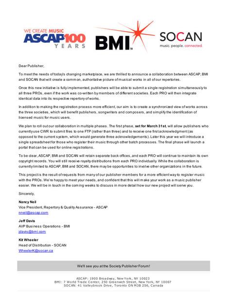 ASCAP, BMI et SOCAN fusionnent leurs procédés de déclarations de nouvelles oeuvres | Music & Metadata - un enjeu de diversité culturelle | Scoop.it