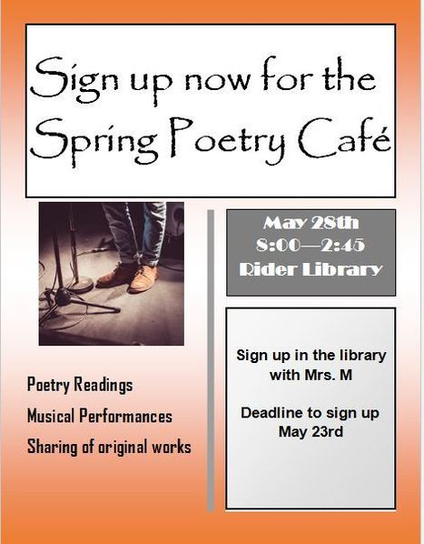 RIDER POETRY CAFE  - May 28th | readthis | Scoop.it