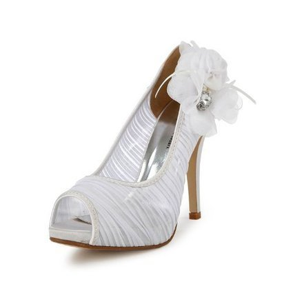 Minitoo TH13135 Womens Stiletto High Heel Peep Toe Chiffon Evening Party Bridal Wedding Ruched Flower Shoes Sandals   Wedding Shoes   Scoop.it