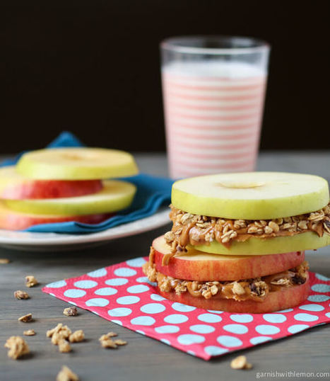 Apple Sandwiches with Almond Butter and Granola - Garnish with Lemon | Health and Wellness | Scoop.it