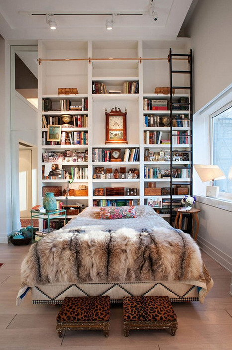 50 Relaxing ways to decorate your bedroom with bookshelves | KOUBOO.com - Well Traveled Home Decor & Interior Design | Scoop.it