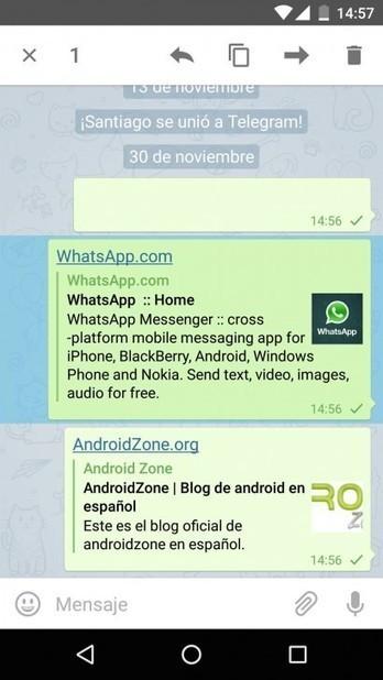 WhatsApp le declara la guerra a Telegram y bloquea sus links | Android Zone | TECNOLOGÍA_aal66 | Scoop.it