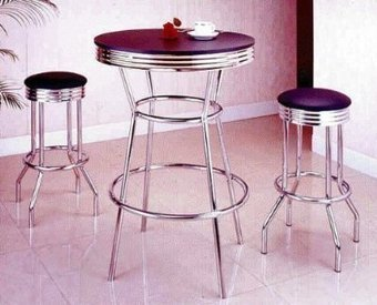 3 Piece Chrome Retro Style Bar Table Set - Table And 2 Stools by ACME - The Bar Room | Bar Stools | Scoop.it