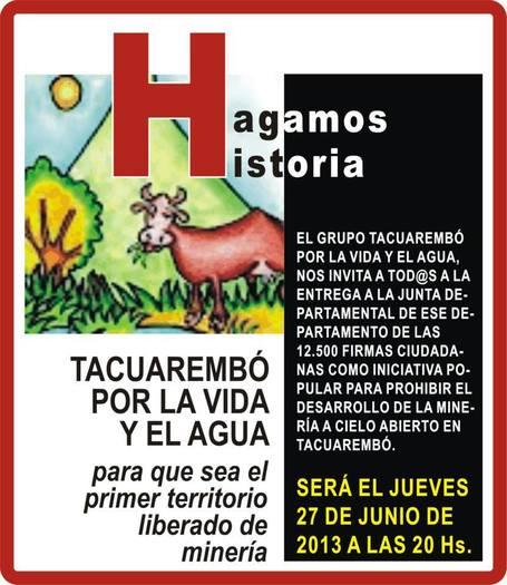 Uruguay / ENTREGA DE FIRMAS / PLEBISCITO SOBRE LA MEGAMINERÍA  / Tacuarembo 27/06/2013 | MOVUS | Scoop.it