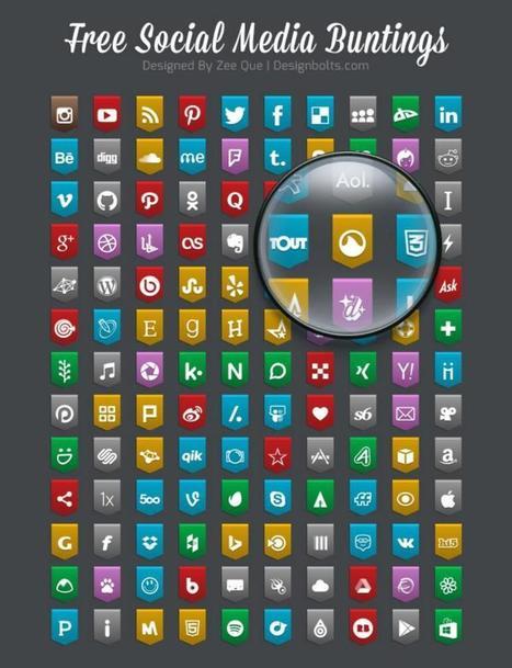 Social Media Bunting Icons 2015: 130 iconos sociales gratis | Sobre TIC y docencia | Scoop.it
