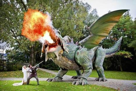 "Fire-breathing robot dragon for ""Drachenstich"" 