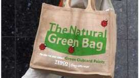 "Tesco plastic bag use 'down 80%' since 5p charge (""charging changes behavior, leads to reduction"") 