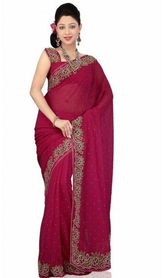 Tantalizing Fuchsia Chiffon Embroidered Saris with Blouse | fashionheena.com | Scoop.it