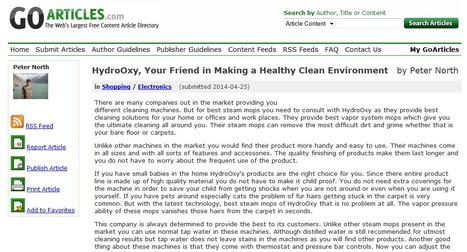 HydroOxy, Your Friend in Making a Healthy Clean Environment   Steam Mops   Scoop.it