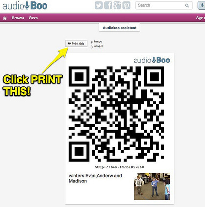 Print a QR Code for an AudioBoo Recording | Engage Your Audience -  Get Organized | Scoop.it