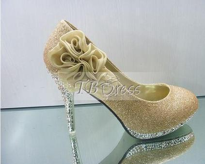 $ 49.29 Shinning Golden PU Upper Stiletto Heels Closed-toes Prom Shoes | fashion | Scoop.it