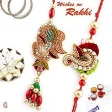 Golden, Red Beads with Zardozi and American Diamond Bhaiya Bhabhi Rakhi - Send Rakhi to India   Rakhi Gifts to India, USA, UK, Canada, Australia   Scoop.it