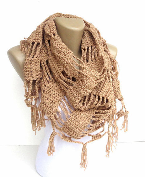 beige brown shawl ,scarf ,women neckwarmer ,crocheted scarf shawl ,cowl -wrap - gift ideas for her | scarf | Scoop.it