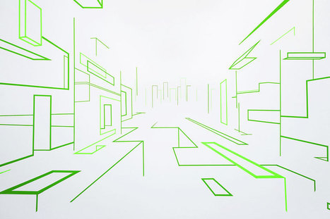 optical illusion art made from strips of tape by damien gilley - designboom | Contemporary Art, Design and Technology | Scoop.it