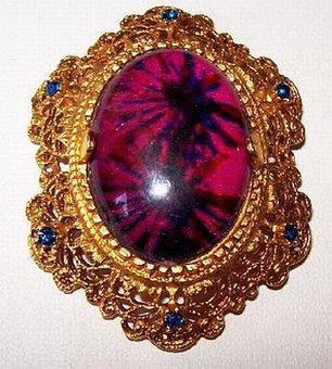 "Vintage Florenza Brooch Pin Purple Art Glass & Blue Rhinestones Filigree Gold Metal 2"" VG | vintage jewelry | Scoop.it"