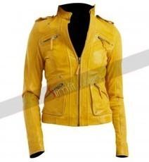 Ralph Lauren Women's Yellow Leather Motorcycle Jacket | Designers Women Leather Jackets & Pants | Scoop.it