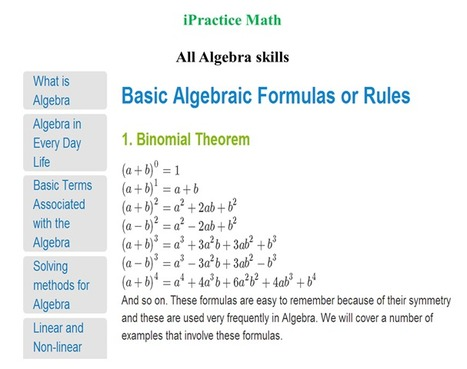 Learn and Practice Algebra : Learn Math Algebra Formulae for solving math equations | 30 minutes Math magic | Scoop.it