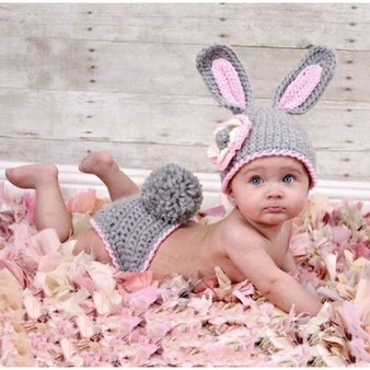 Gray Easter Bunny Knit Crochet Baby Costume Photo Props Rabbit Toddler Birthday Outfit | Personalized Clothing | Scoop.it