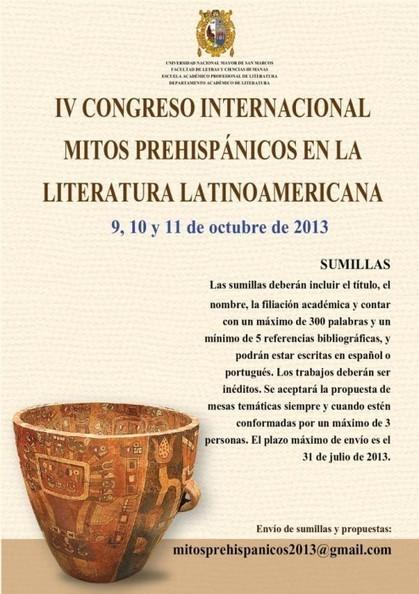 IV Congreso Internacional de Mitos Prehispánicos, Lima - REDLIT | Aqueronte | Scoop.it