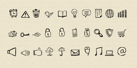 30 Hand-Drawn Icons And Photoshop Shapes | Smolin | Scoop.it