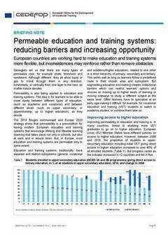 Cedefop | Publications | Briefing note - Permeable education and training systems: reducing barriers and increasing opportunity | ICT Resources for Teachers | Scoop.it