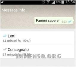 Come visualizzare su Whatsapp l'orario di lettura di un messaggio inviato – | Sms gratis | Scoop.it