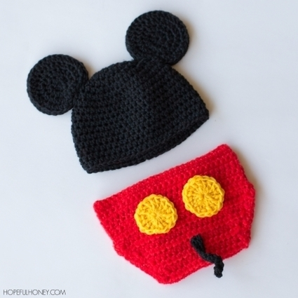 Mickey Mouse Inspired Hat & Diaper Cover | Crochet | Scoop.it