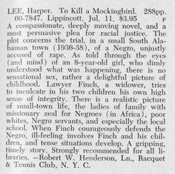 Library Journal's Review of To Kill a Mockingbird, May 15, 1960 | LibraryLinks LiensBiblio | Scoop.it