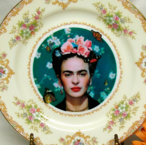 Frida Kahlo with butterflies Vintage Wall Plate by AustinModern | COYOACAN TRAVEL REPORT | Scoop.it
