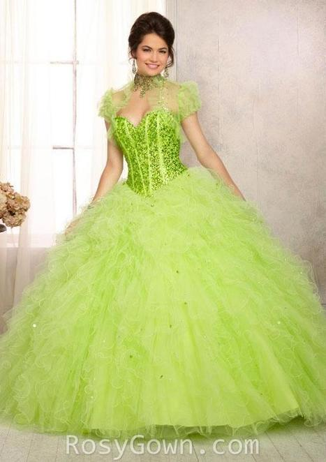 Lime Beaded Ruffled Tulle Strapless Quinceanera Dress | Cheap Prom Dresses | Scoop.it