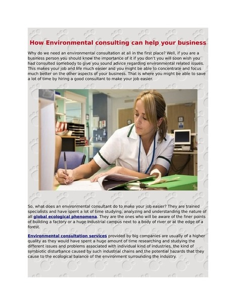Environmental Consulting - An Introduction   News and Society » Environmental   Scoop.it