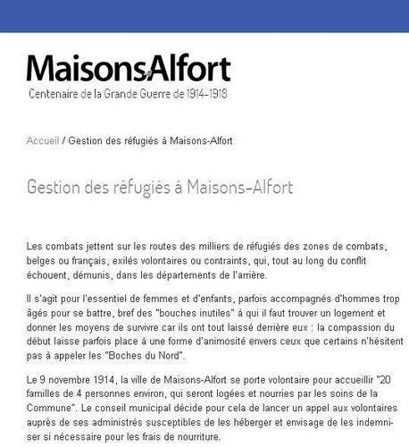 Maisons-Alfort 14-18, gestion des réfugiés | CGMA Généalogie | Scoop.it