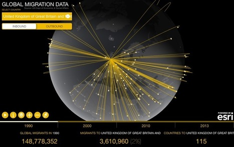 The story of global migration visualised on a single map by Esri - Geoawesomeness | Geographical Education | Scoop.it