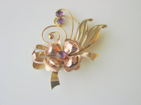 Retro 40s ISKIN Amethyst Floral Brooch (Yellow- & Rose-Gold Filled) | Jewelry | Scoop.it
