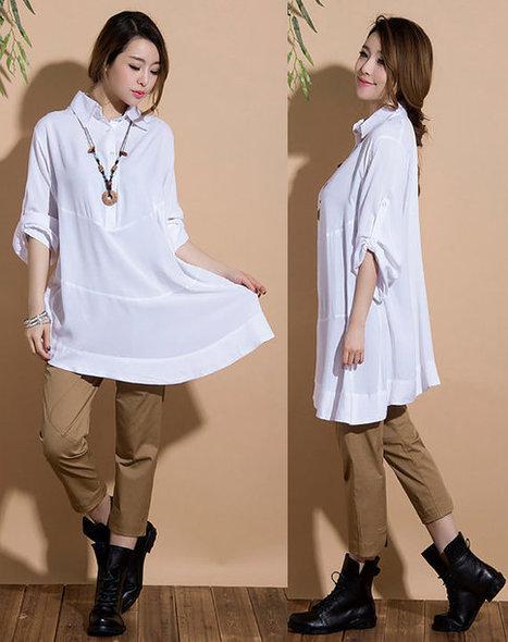 Irregular white long-sleeved casual shirt / loose cotton shirt | Ladies Fashion | Scoop.it