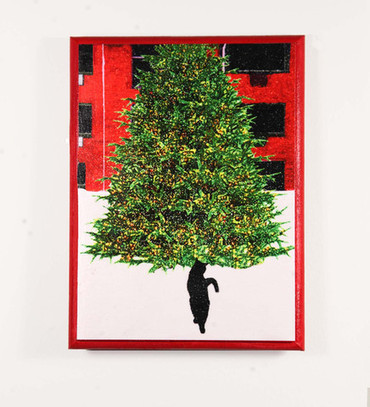 Christmas Wall Art: Black Cat In Snow With Decorated Tree | Deborah Julian Art | Christmas Cat Ornaments and Cards | Scoop.it